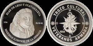 Anverso y reverso de la moneda conmemorativa de Blas de Lezo y Olavarrieta